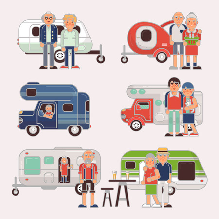 Senior travel vector elderly family couple travelling on camping trailer and retired character on a vacation motor caravan illustration set of grandparents on a car isolated on white background Illustration