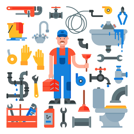 Plumbing vector plumber character repairing pipes with tools and pipeline equipment illustration set of repairman plumbs sink or faucet isolated on white background