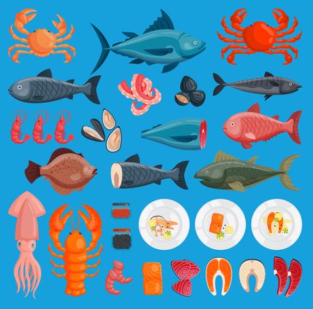 Vektor Meeresfrüchte Küche frische Fische und Garnelen, Krabben, Tintenfisch Illustration Bühnenbild Plattfisch und Krabben Essen Austern Meeresfrüchte Garnelen Menü Ctopus Tier Schalentiere Standard-Bild - 96754056