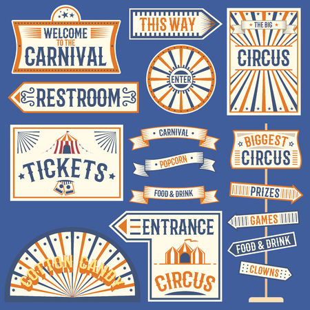 Circus labels carnival show banner vintage label elements for circus design on the party theme. Collection of symbols old-style fashioned festive party emblems and logos fun tag graphic illustration