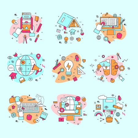 Icônes de l'éducation vector illustration et jeu de symboles d'apprentissage