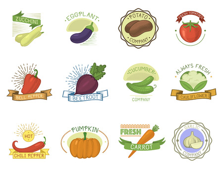 Vegetables badge healthy vector illustration set