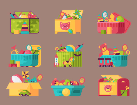 Boxes full of kid toys vector illustration