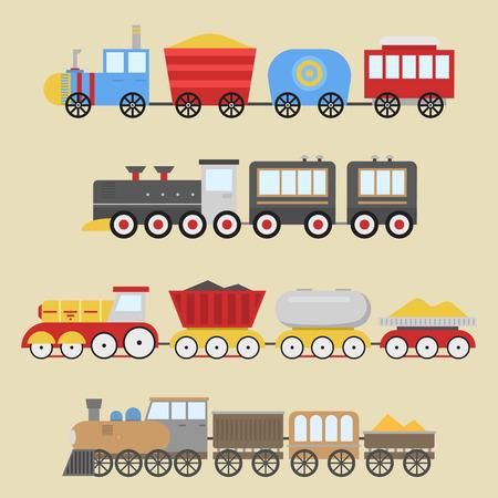 漫画のおもちゃの列車のベクトルセット  イラスト・ベクター素材
