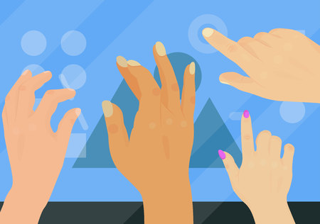 Users hands touch gestures technology vector illustration.