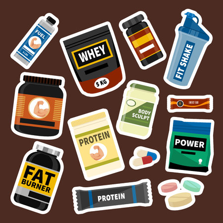Bodybuilders food diet symbols