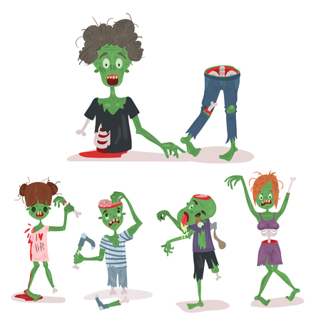 Colorful zombie scary cartoon elements Illustration