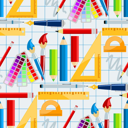 Creativity school supplies seamless pattern background imagination vector illustration.