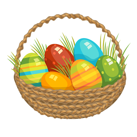 Easter vector illustration basket with colored eggs and green grass holiday celebration illustration.