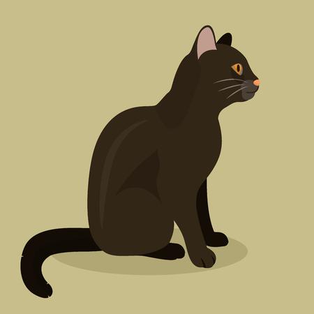 Black cat cute kitty pet cartoon cute animal character illustration. Mammal human friend cat breed animal icon. Catlike movement and feline manner.