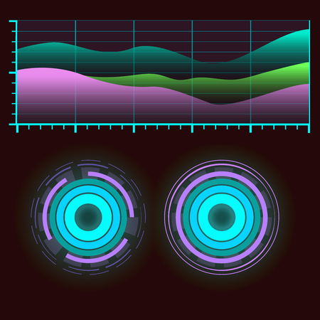Futuristic interface space motion graphic infographic game and ui ux elements hud design graph wave bar hologram vector illustration. Tech and science analysis theme. Ilustrace