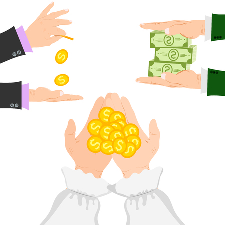 Businessman human hands arm holding paper money stack vector illustration finance concept. Financial rich people body part.