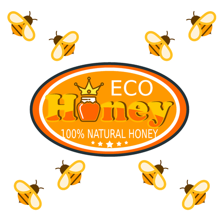 Set bee logo labels for honey logo products organic farm emblem natural sweet product hight quality healthy food vector illustration.