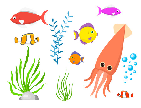 Set aquatic funny sea animals underwater creatures cartoon characters shell aquarium vector illustration.