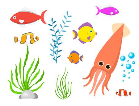 Set aquatic funny sea animals underwater creatures cartoon characters shell aquarium vector illustration.