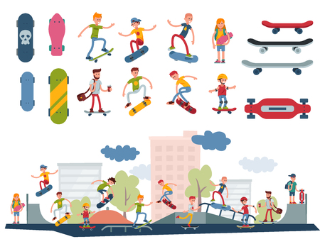 Young skateboarder active people park sport extreme outdoor active skateboarding urban jumping tricks vector illustration. Çizim