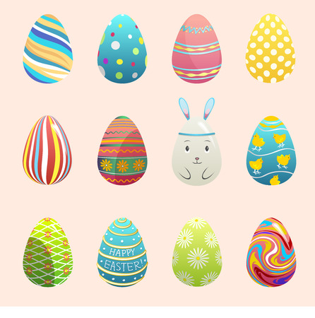 Realistic vector easter eggs painted with spring pattern. Decoration retro multi colored collection of bunny rabbit eggs.