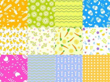 Easter spring vector seamless pattern background traditional eggs and rabbit card design.