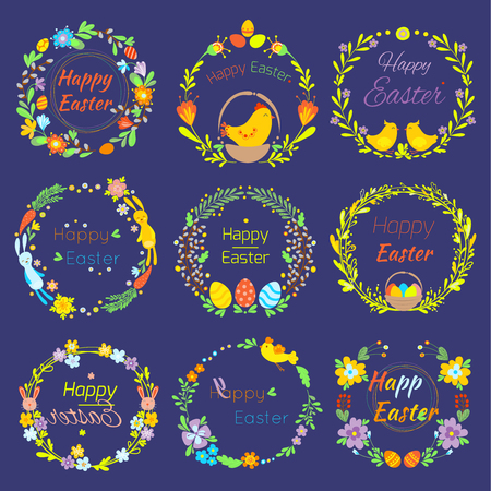 Happy Easter text quote in flowers branch and eggs traditional decoration elements handdrawn badge lettering.