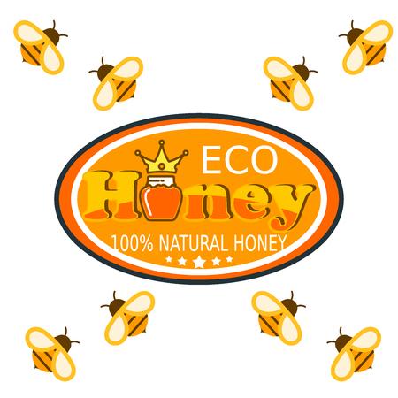 Establecer etiquetas de logotipo de abeja para productos de miel granja orgánica natural producto dulce calidad comida sana ilustración vectorial.