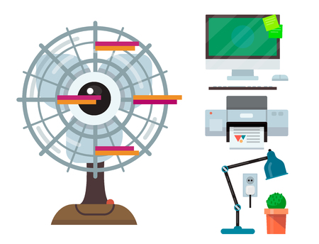 Computer office equipment technic gadgets modern workplace communication device monitor printer keyboard vector illustration.