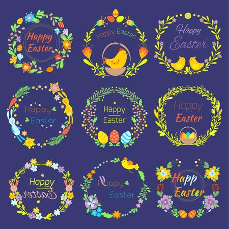 행복 한 부활절 텍스트 꽃 지점 및 계란 전통적인 장식 요소 handdrawn 배지 글자 인사말 부활절 축 하 카드와 자연 화 환 봄 꽃 그림 스톡 콘텐츠 - 96946488