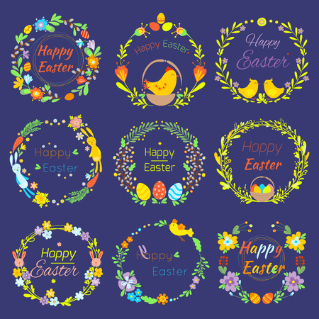 Happy Easter text quote in flowers branch and eggs traditional decoration elements handdrawn badge lettering greeting Easter celebrate card and natural wreath spring flower illustration 일러스트