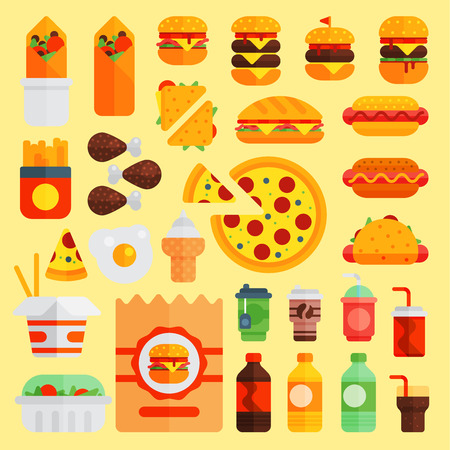 Cartoon fast food vector cuisine burger and pizza, drinks icons isolated on background restaurant tasty american cheeseburger meat and unhealthy fast-food burger meal illustration.