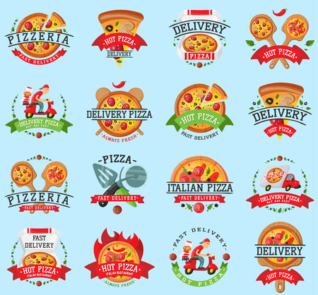 Pizza italian restaurant vector badge icons set illustration.
