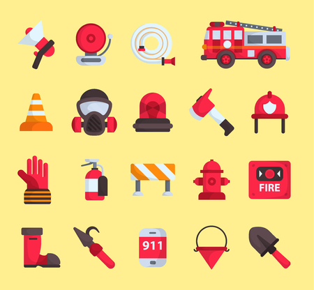 Firefighter elements vector fire department emergency icons and water safety car vehicle, mask, fire extinguisher equipment fireman protection illustration. Burning house flat emblem tool