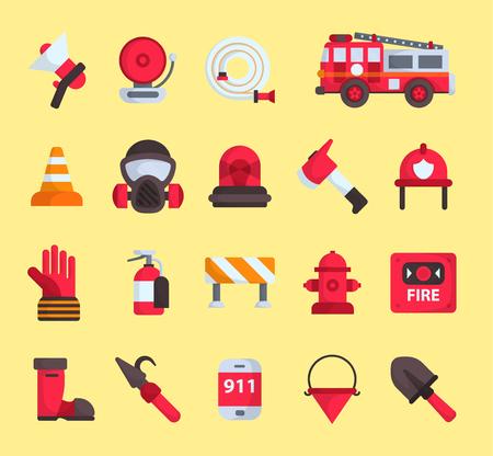 Los elementos del bombero vector los iconos de emergencia del departamento de bomberos y el vehículo del coche de la seguridad del agua, máscara, equipo del extintor ilustración de la protección del bombero. Herramienta de emblema plano de casa en llamas