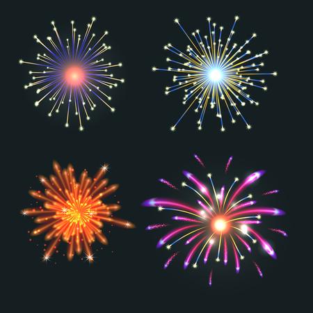 Fireworks vector illustration festive party set