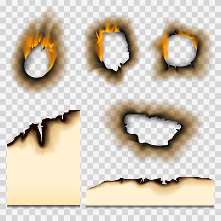 Illustratie van het verbrande stuk papier afbeelding