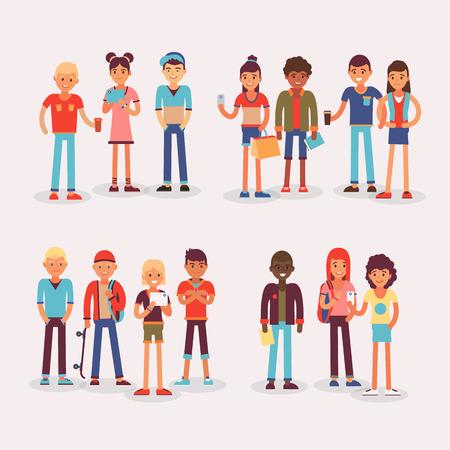 白い背景に隔離された若い学生コミュニティのイラスト