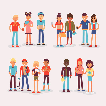 Illustration of young student community isolated on white background