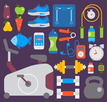 Sports gym vector equipment and accessories. Illustration