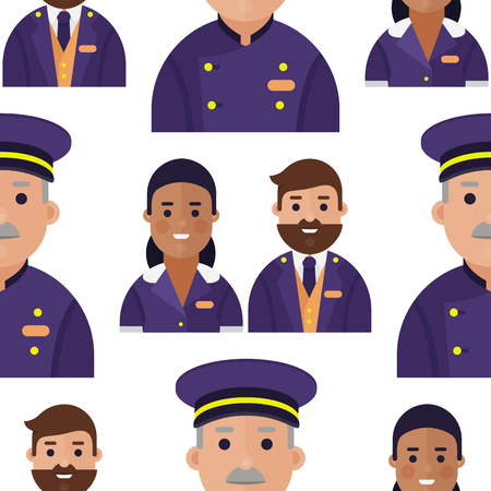 Professional service man and woman in uniform pattern Illustration