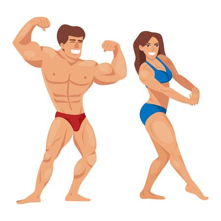 Bodybuilders cartoon characters design Illustration