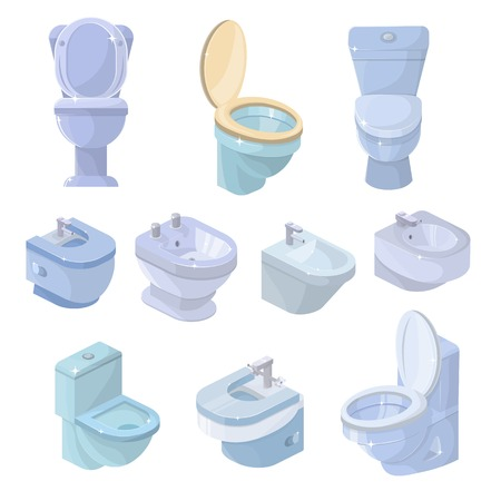Set of lavatory with toilet ware icons