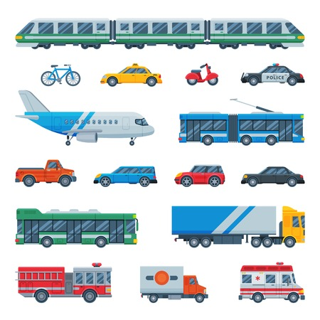 Transportation in city set icon