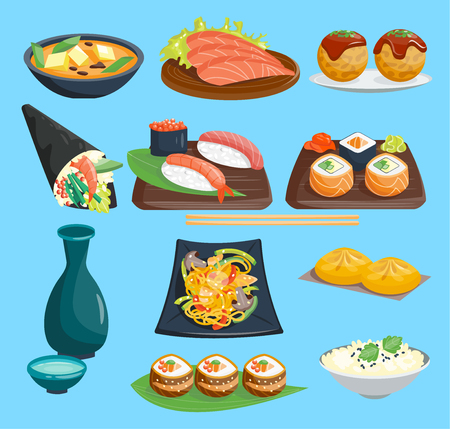 Set of Japanese restaurant cuisine Иллюстрация