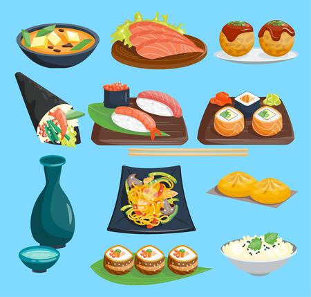 Set of Japanese restaurant cuisine Stock Illustratie