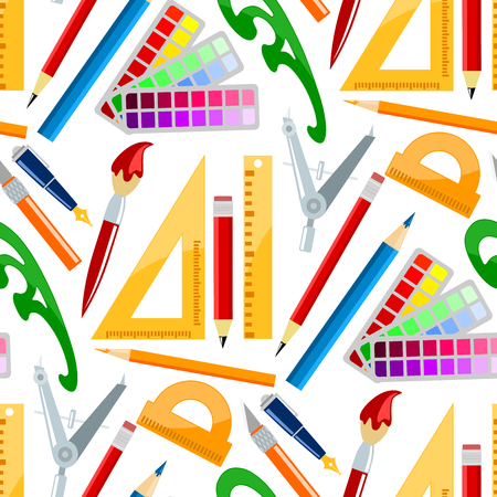 Creativity school supplies seamless pattern background imagination vector illustration abstract colorful flat creative process design development elements.
