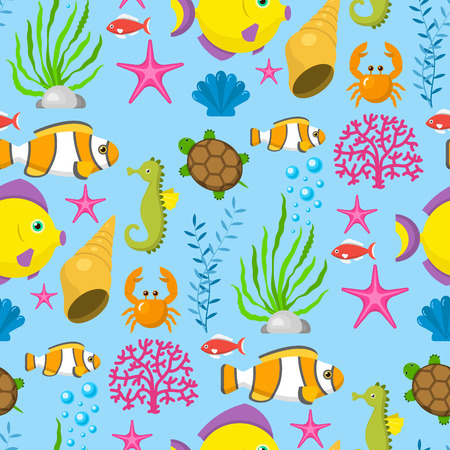 Aquatic funny sea animals underwater creatures cartoon characters shell aquarium sealife seamless pattern background vector illustration. 矢量图像