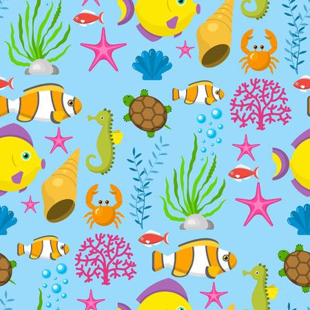 Unterwassergeschöpfzeichentrickfilm-figuren der lustigen Wassertiere schälen Muster-Hintergrund-Vektorillustration sealife des Aquariums nahtlose.
