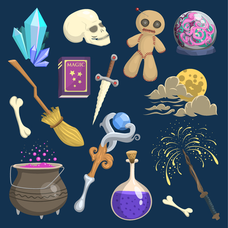 Magic mystic vector witchcraft wizard wodo trick symbol magician wand and surprise entertainment fantasy carnival mystery tools cartoon miracle decoration illustration witchcraft spell event sign