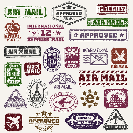 Vector vintage postage mail stamps retro delivery badge plane, train transport stickers collection grunge stamps print. Postmark design correspondence sign. Antique communication template texture Vector Illustration