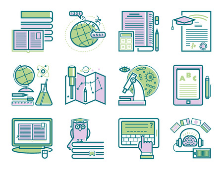 Conjunto de iconos de esquema de diseño plano tutoriales de educación personal formación aprendizaje investigación conocimiento vector ilustración. Ilustración de vector