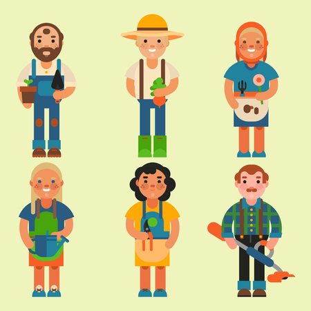 Farmer character man agriculture person profession rural gardener worker farming people vector illustration.
