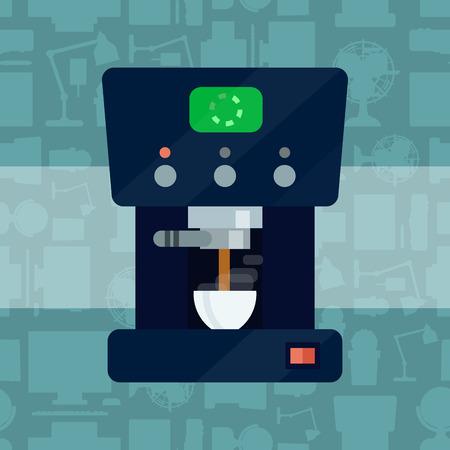 Vector coffee expresso maker machine caffeine modern drink kitchen appliance breakfast drink stainless equipment coffemaking kitchenware illustration.  イラスト・ベクター素材